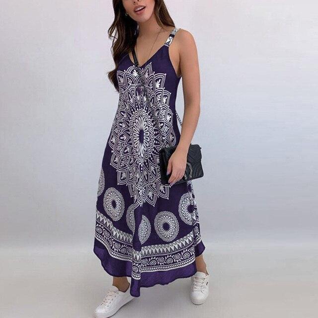 Women Sexy Backless Sleeveless Loose Beach Dress Summer Vintage Print Long A-Line Dresses Elegant Casual Strap Dress Vestido 3XL 5