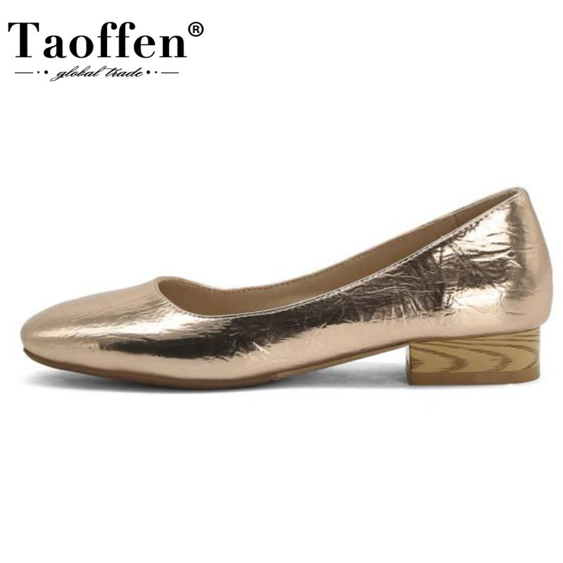 Taoffen Spring Pumps Round Toe Women Shoes Thick Square Thick Heels Shoes Shallow Casual Shoes Party Wedding Shoes Size 32-45