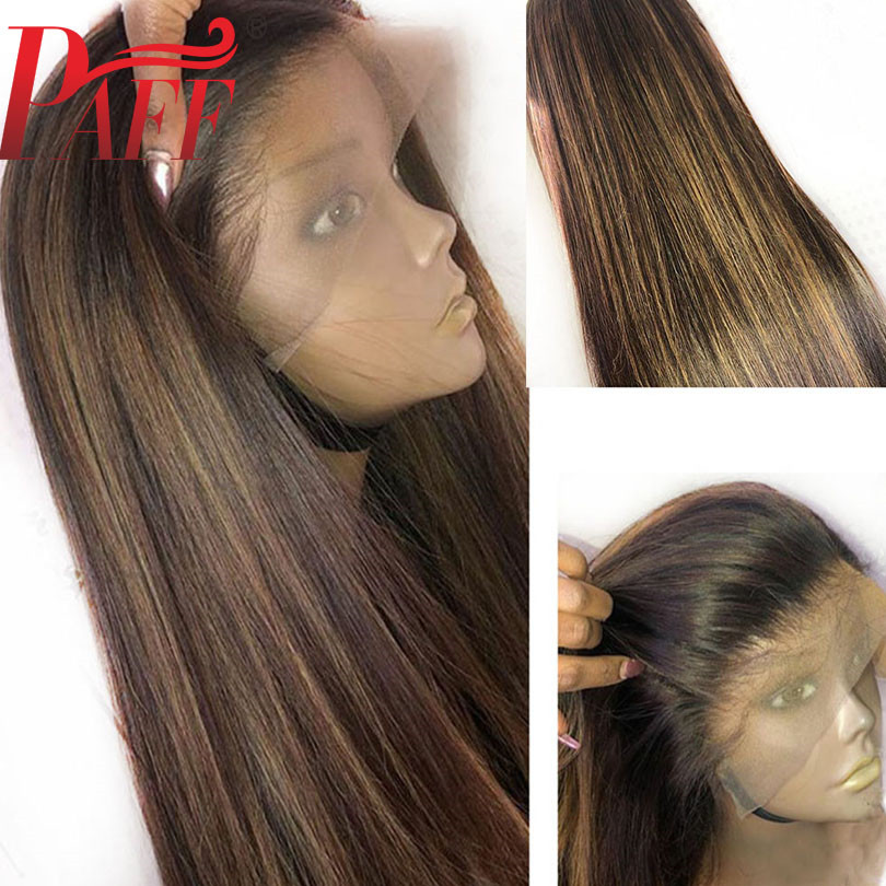 PAFF 13x4 Transparent Lace Human Hair Wig Highlight Blonde Color Free Part  Pre Plucked Lace Front Wigs Remy Brazilian Ombre