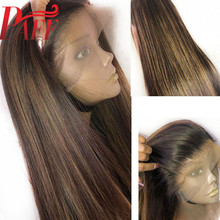 PAFF 13x4 Transparent Lace Human Hair Wig Highlight Blonde Color Free Part  Pre Plucked Front Wigs Remy Brazilian Ombre
