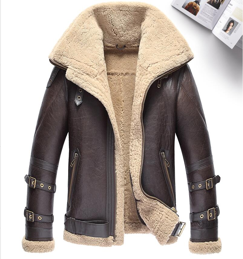 Thicker Fur Coat Double Collar Sheepskin Genuine Leather