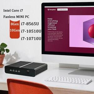 10-го поколения безвентиляторный мини ПК Intel Core i7 10710U 10510U Настольный ПК Windows 10 2 * DDR4 M.2 NVMe + Msata + 2,5 'SATA HTPC NAS HDMI DP