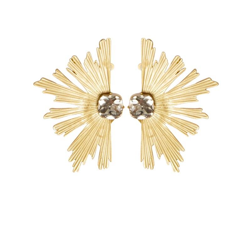 Baroque Retro Shining Alloy Symmetrical Sun Flowers Pendant Earrings Vintage Rhinestones Tassel Earrings Jewelry Gifts