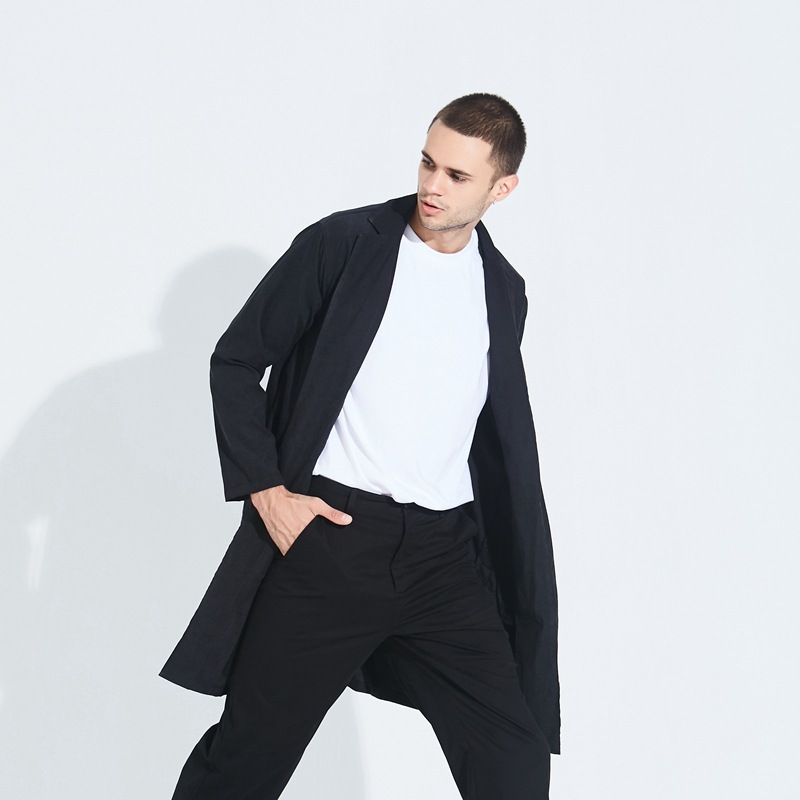 Mid-length Trench Coat Men's Europe And America Big Brand Catwalks-Style Long Coat Thin Type For Spring And Autumn BF Style Kore