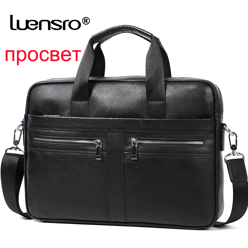 Man Briefcases 100% Genuine Leather Men Bag Handbag Casual Male Laptop Bag Shoulder Crossbody Bag Bussiness Briefcase Leather
