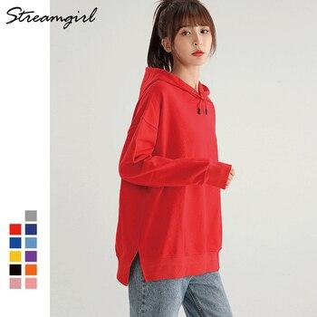 Streamgirl Casual Oversized Hoodie Sweatshirt Women Spring 2021 Black Women's Hoodies For Women Couple Sweatshirts With Split 1