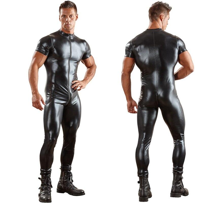 Сексуальный мужской комбинезон из искусственной кожи для мужчин, облегающий боди, комбинезон на молнии спереди с открытой промежностью, латексный костюм зентай, 3XL - Цвет: N949