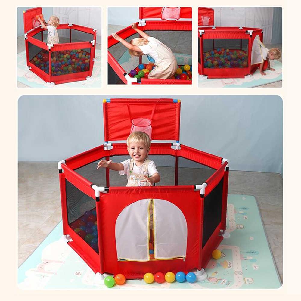 Bayi Bola Kolam Renang Anak Boks Foldable Kering Kolam Renang Bola Lubang dengan Keranjang Tempat Bermain untuk Anak-anak Nyaman Luar Ruangan Games pagar