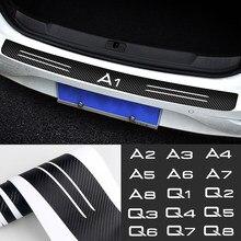 Pegatinas protectoras para borde de carga de maletero, parachoques de fibra de carbono, para Audi a4, b8, a3, q5, a6, Q7, Q8, Q6, A1, A2, A5, A7, A8, Q4, Q3, Q2, Q1