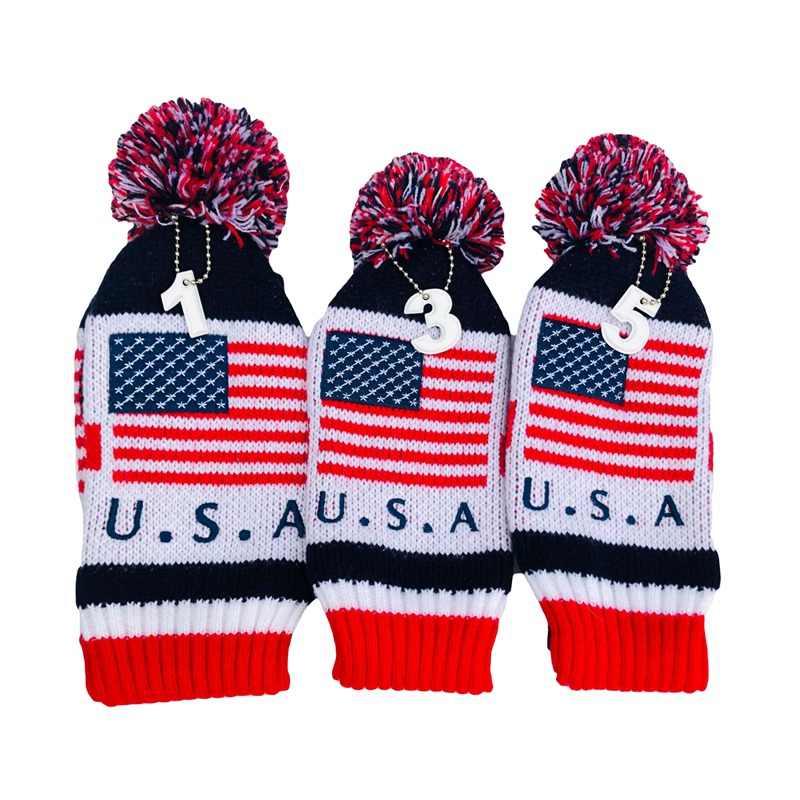 3pcs/set American Flag Pom Pom Sock Set Vintage Knit Universal Golf Head Covers For Driver Fairway Hybrid Wood New cym