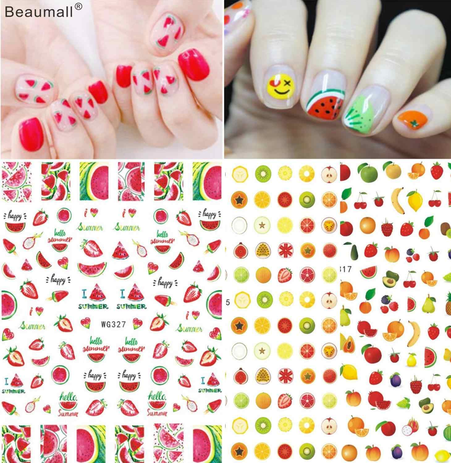 Vruchten Nails Art Manicure Terug Lijm Decal Decoraties Ontwerp Nail Sticker Voor Nagels Tips Beauty
