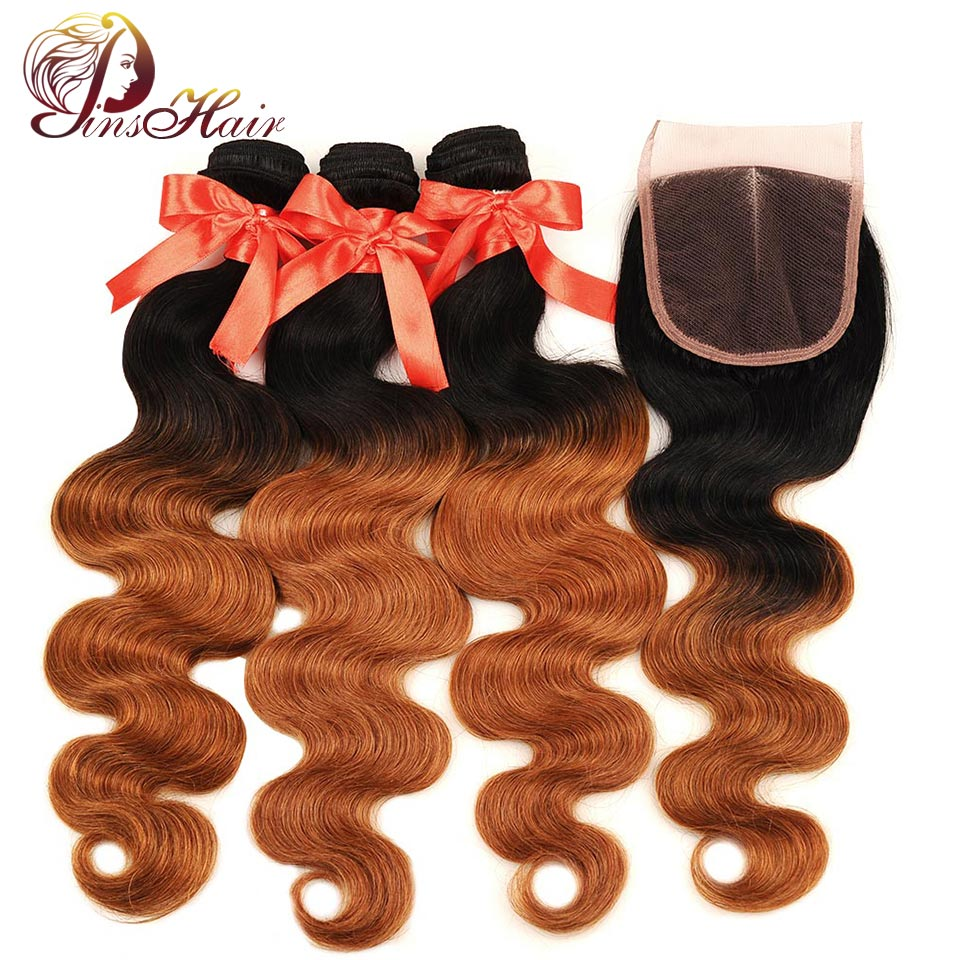 Pinshair Honey Blonde Body Wave Bundles With Closure 1B/30 Ombre Bundles With Closure Peruvian Human Hair Wave Bundles Non-remy
