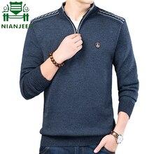 Осенне-зимние трикотажные пуловеры мужской свитер с воротником-стойкой сплошной цвет молния Повседневная тонкая посадка теплый pull homme Плюс Размер M-3XL