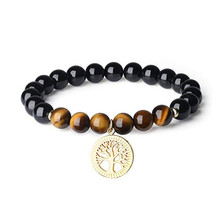 FYJS Unique Jewelry Light Yellow Gold Color Tree of Life Tiger Eye Stone Connect 8 mm Black Agates Round Beads Bracelet