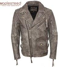 Veste dhiver en cuir véritable homme, Vintage, 100% en cuir de vache, Slim Fit, pour motard