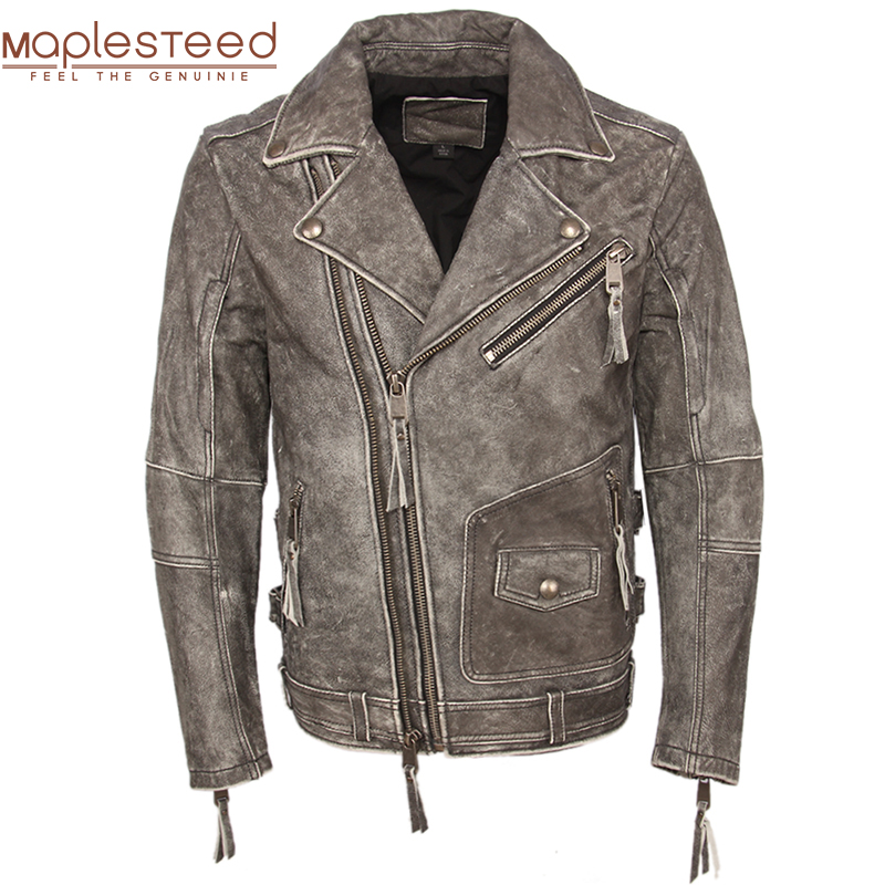Vintage Motorcycle Jacket Men Leather Jacket Thick 100% Cowhide Slim Fit Moto Biker Genuine Jacket Man Leather Coat Winter M455