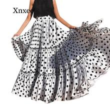 Women High Waist Polka Dot Printed Long Skirt Loose A-line Ruffled Pleated Skirt Maxi Evening Party Skirt jupe femme ankle plus maxi high waist pleated a line dress