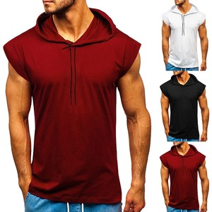 Men's Fitness Gym Solids Bodybuilding Workout Muscle Sleeveless Hoodies Tank Top Athletic Sleeveless Hooded Tops