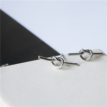 Europe and the United States cool simple personality tide fun Gold Silver lines knotted geometric earrings