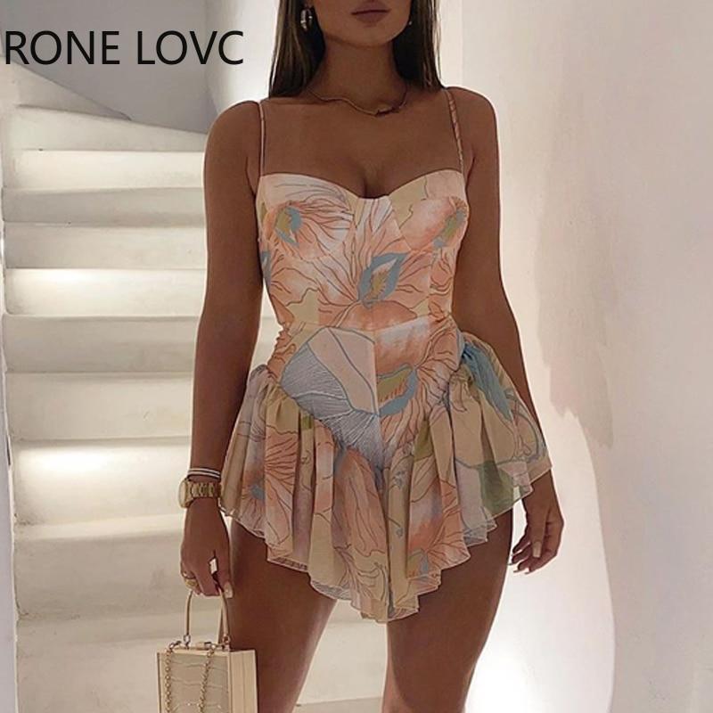 Женское платье на тонких бретельках с цветочным принтом, асимметричное платье мини, элегантное модное шикарное платье