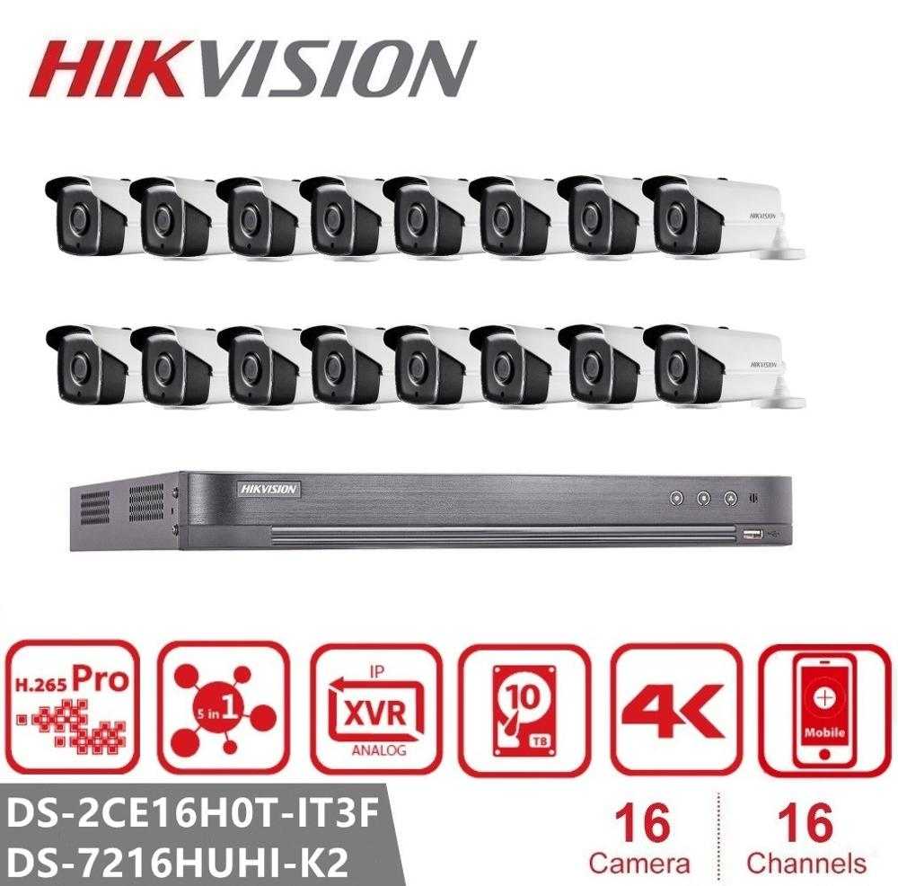 <font><b>Hikvision</b></font> <font><b>16CH</b></font> Video Überwachung DS-7216HUHI-K2 <font><b>DVR</b></font> + 5MP Hybrid 4-in-1 Nachtsicht Sicherheit Kamera System DS-2CE16H0T-ITF kit image