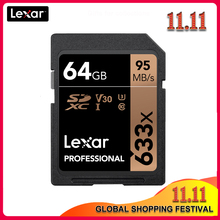 100% Original Lexar 633X16G 32GB 64GB Class 10 SD SDHC SDXC การ์ดหน่วยความจำ SD การ์ด 128GB 512G 95 เมกะไบต์/วินาทีสำหรับกล้องดิจิตอล SLR/กล้อง HD