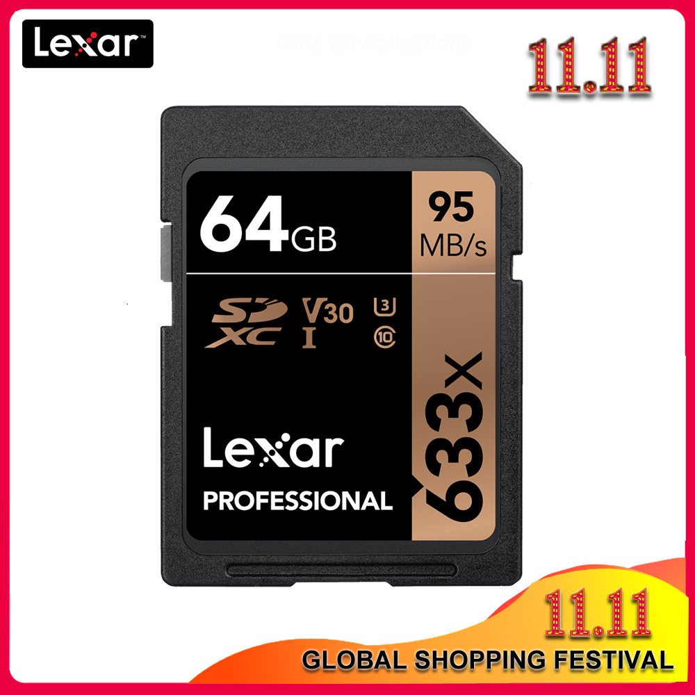 100% Original Lexar 633x 16G 32GB  64GB Class 10 SD SDHC SDXC Memory Card in card 128GB 512G 95MB/s for Digital SLR/HD camera