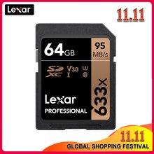 100% Originele Lexar 633x16G 32GB 64GB Class 10 SD SDHC SDXC Geheugenkaart in SD card 128GB 512G 95 MB/s voor Digitale SLR/HD camera