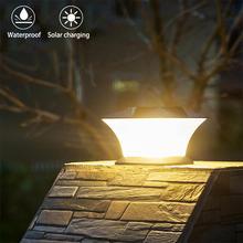 24 светодиода супер яркий круглый Солнечный столб лампа сад освещение Настенный дверной столб наружные Ландшафтные светильники IP44 водонепроницаемый светильник