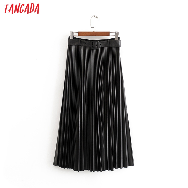 Tangada Women Black Pleated PU Leather Skirts With Slash Ladies 2019 New Arrival Retro Female Office Ladies Long Skirts 3h25