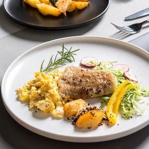 Image 5 - ירי צילום מזון כלי שולחן מוצק צבע קרמיקה צלחות פשוט & יצירתיות בשר צלחת עגול קינוח צלחת סלט מנות