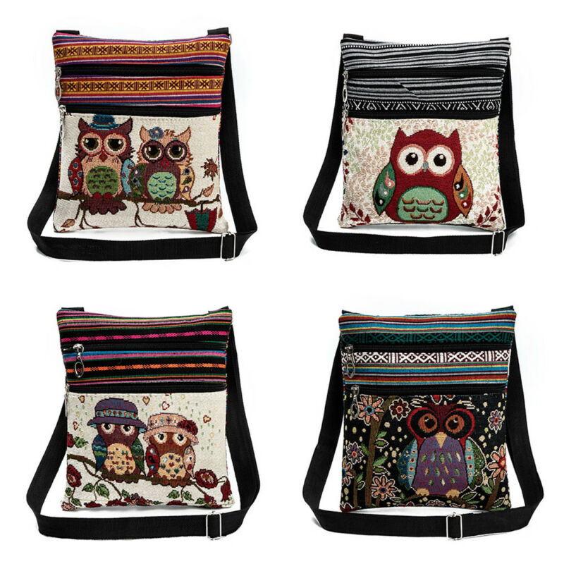 Vintage Chinese National Style Ethnic Shoulder Bag Women Mini Handbag Owl Diagonal Embroidery Tote Lady Messenger Cross Body Bag