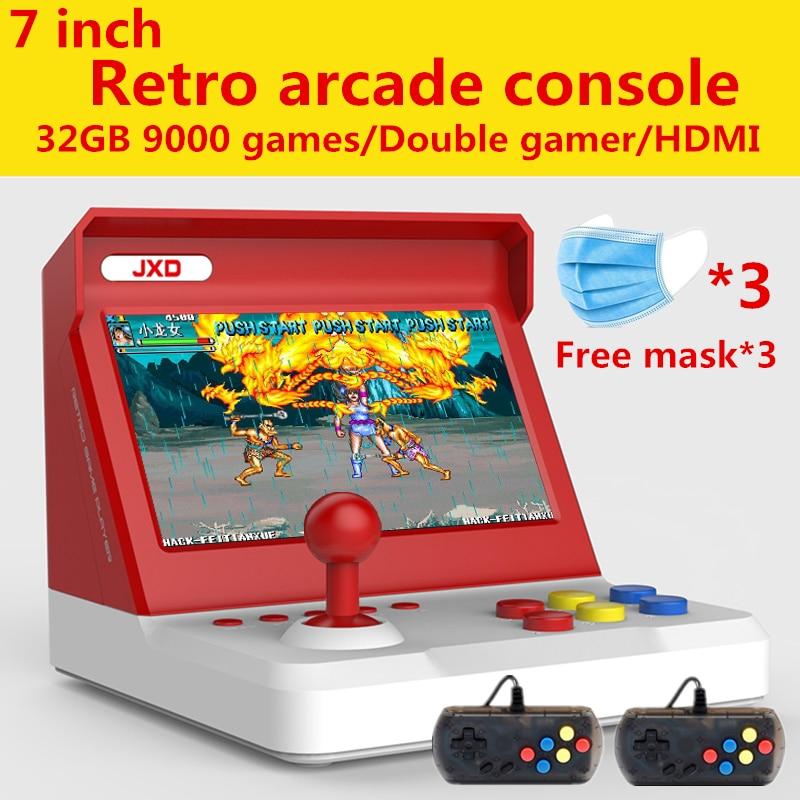 JXD 7.0/4.3 inch Dual-core Big rocker retro mini arcade console build in 9000 game arcade neogeo/cp1/cp2/gbc/gb/sens/nes/smd