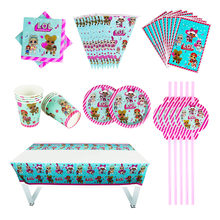 40/80/81/100PC Surprise Dolls Baby Shower Party Decoration Birthday Sets Banner Straw bag Cup Plate Tablecloth Supplies For Kids(China)
