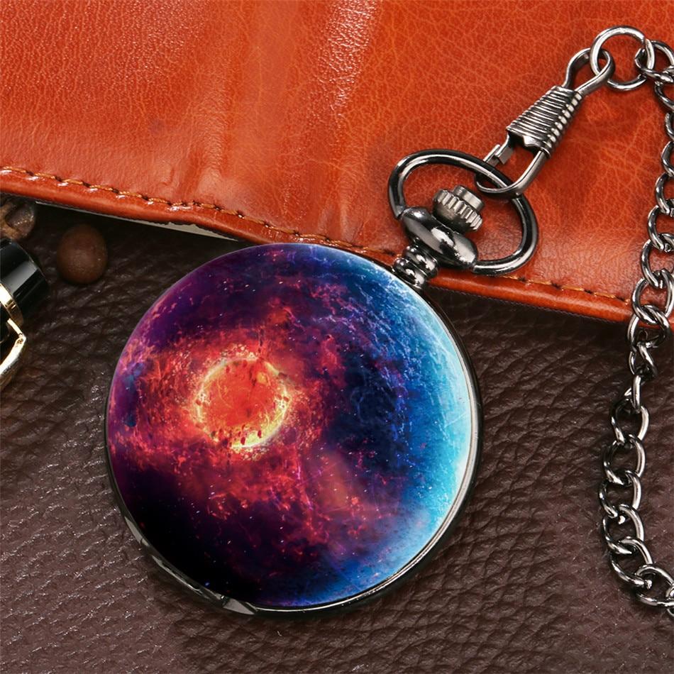 Fantasy Starry Theme Quartz Pendant Fob Clock Quartz Antique Black Pocket Watch Old Fashion Pocket Clock Gifts