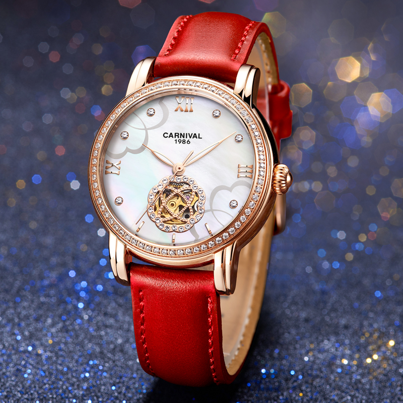 2020 New CARNIVAL Skeleton Tourbillon Mechanical Women Watches Rose Golden Pearl Shell Dial Automatic Wrist Watch For Women Saat