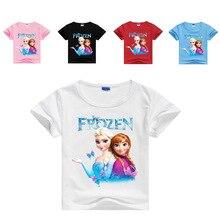 New Summer Cartoon Frozen Anna Elsa Print Baby Girls Short Sleeve T Shirt Kids Girls Cotton Clothes Toddler Tops Tees Costumes