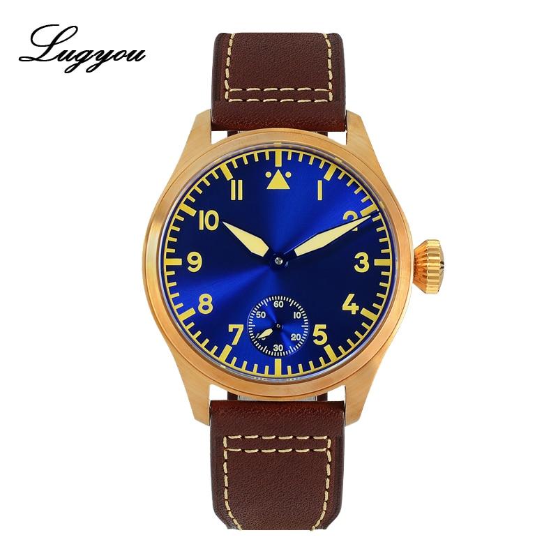 Lugyou San Martin Bronze Pilot Watch Men Hand Winding Seagull 6498 Sapphire Leather Strap C3 Green Luminous 44mm Skeleton Back