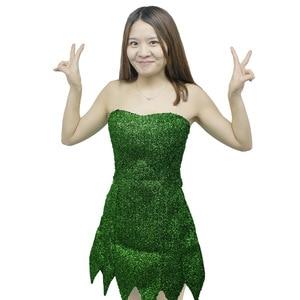 Image 3 - 2019 nowy Pixie bajki Cosplay kostium Dzwoneczek zielony dla dorosłych sukienka Tinkerbell Halloween Party Sexy Cosplay Mini sukienki z długim rękawem duże peruka
