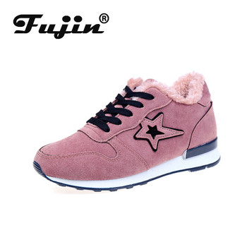 Fujin Winter Sneakers Women Thick Bottom Plush Keep Warm Cross Tied Platform Fashion Breathable Leisure Round Toe