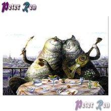 5d animals Cat music lunch Diamond Painting diamond Embroidery full Square/round Mosaic Picture Rhinestone Home Decoration
