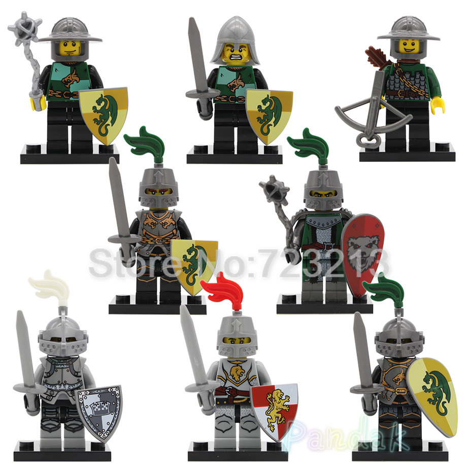 Knight Figure Single Sale Medieval Heroic Frightening Rome Kindoms Dragon Knights Building Blocks Toys X0148 Legoing