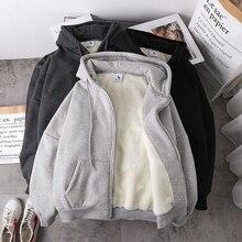 Hoodies Tops Zipper Sweatshirt Jacket Women Lamb-Wool Velvet Loose Imitation Autumn Thick