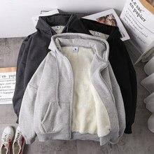 Jaqueta feminina cor sólida hoodies 2020 outono inverno imitação de lã de cordeiro coreano solto mais veludo grosso zíper camisola topos