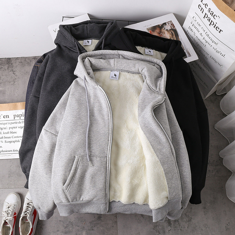 Jaqueta feminina cor sólida 2020 outono inverno nova imitação de lã de cordeiro coreano solto mais veludo grosso com capuz com zíper camisola topos