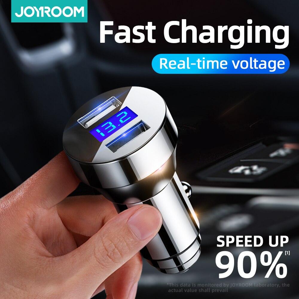 Joyroom-cargador USB para coche QC 4,0, 24W, doble puerto, carga rápida, LED, para iPhone 12, 11 Pro, Max, XR, XS, X, Xiaomi y Huawei