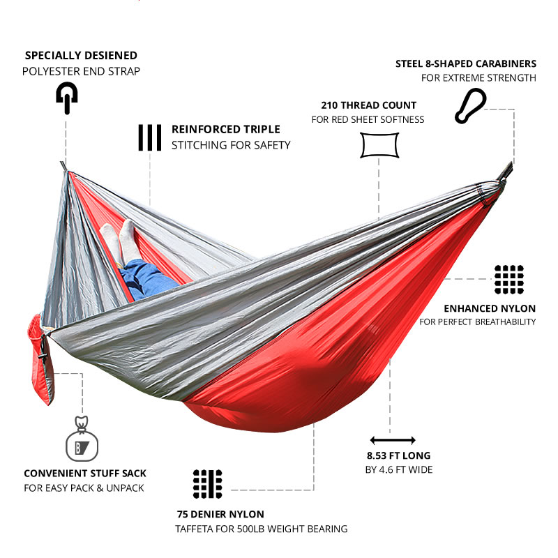 Image 2 - Hammock Nylon Camping Survival garden hunting Leisure Travel Double Person Portable Parachute Hammocks-in Hammocks from Furniture