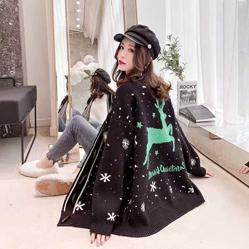2018 red Christmas sweater coat cardigan female loose thick lazy wind long sleeve spring sweater autumn and winter