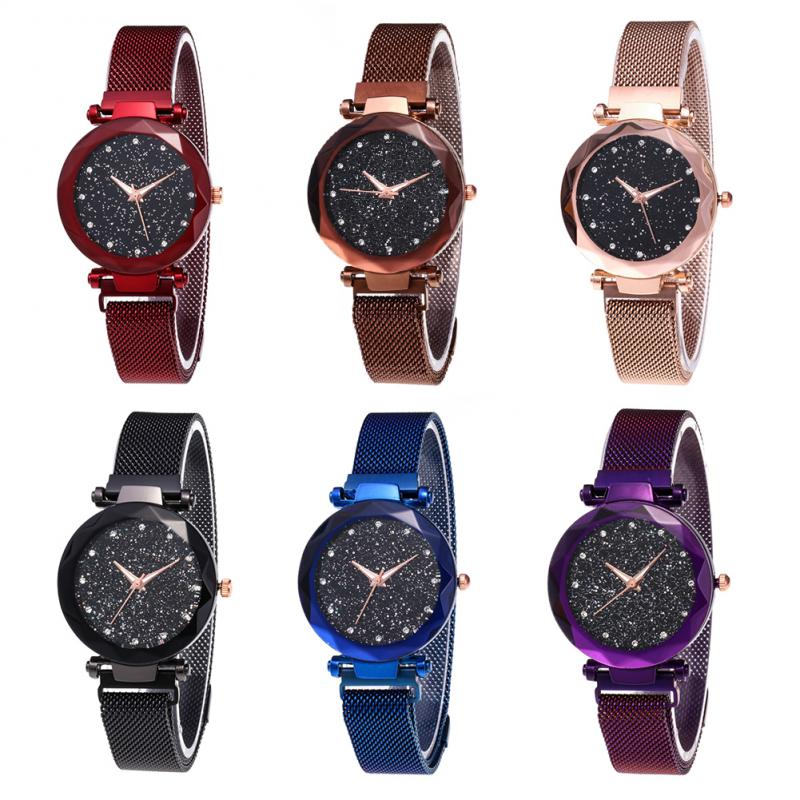 Ladies' Top Brand Star Watch Mesh Magnet Starry Sky Quartz Watch Ladies Magnet Strap Watch Round Dial Magnet Strap Buckle Watch