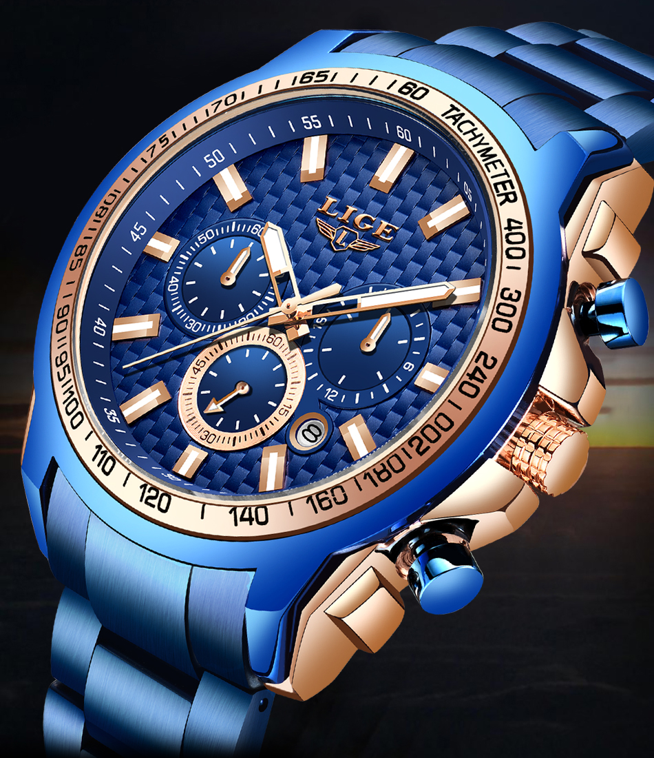Haa5225c96c534df89e74dffb5843e4e1i - LIGE New Fashion Blue Watch,Mens Watches Top Brand Luxury Clock Man Military Chronograph Quartz Watch Men Relogio Masculino